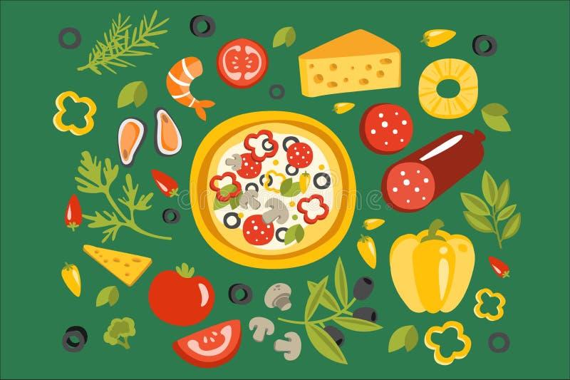 Πίτσα που περιβάλλεται με τα διαφορετικά συστατικά για το, την ιταλική προετοιμασία πιάτων κουζίνας και τη μαγειρεύοντας απεικόνι ελεύθερη απεικόνιση δικαιώματος