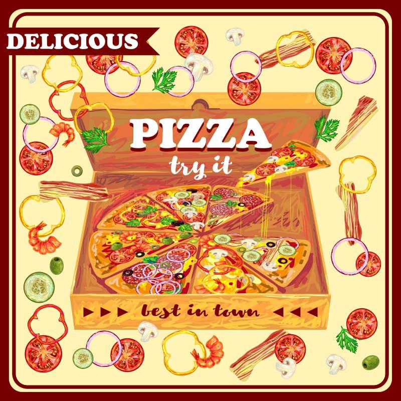 Πίτσα στο ανοικτό σχέδιο κιβωτίων διανυσματική απεικόνιση