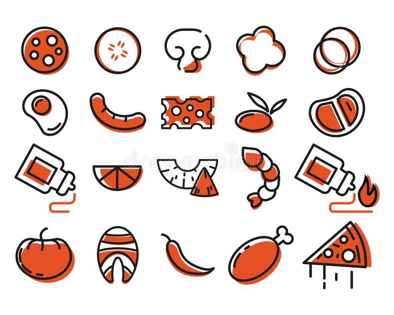 Πίτσα σχεδιαστών ντομάτα σαλαμιού πιτσών paprica συστατικών τυριών εικονίδια που τίθενται απεικόνιση αποθεμάτων