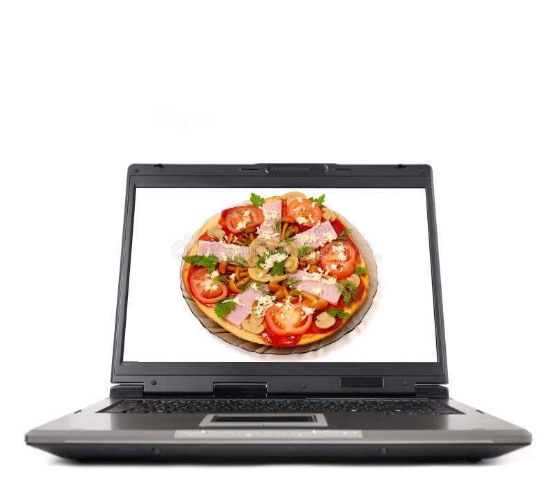 πίτσα lap-top υπολογιστών στοκ φωτογραφίες με δικαίωμα ελεύθερης χρήσης