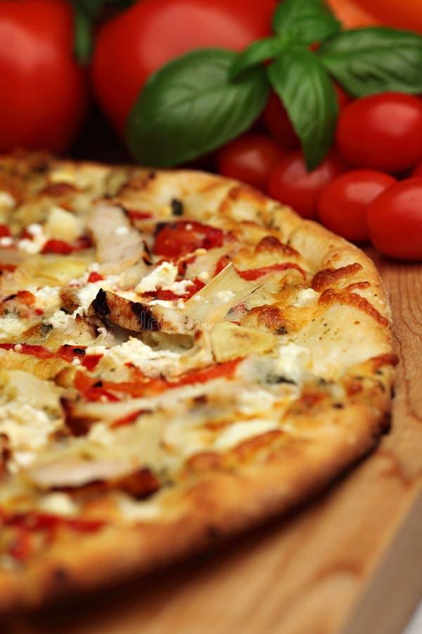 πίτσα tuscan pesto στοκ εικόνα
