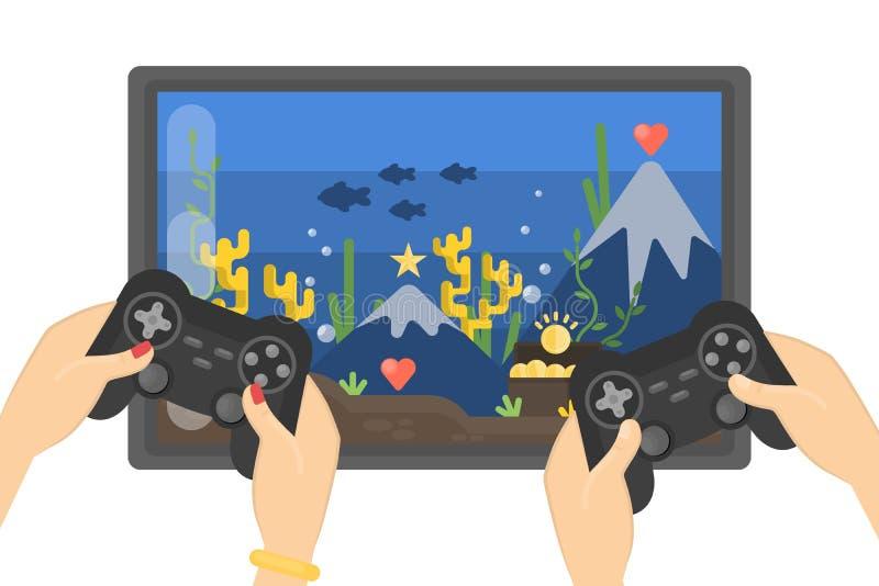 παίζοντας βίντεο παιχνιδιών απεικόνιση αποθεμάτων