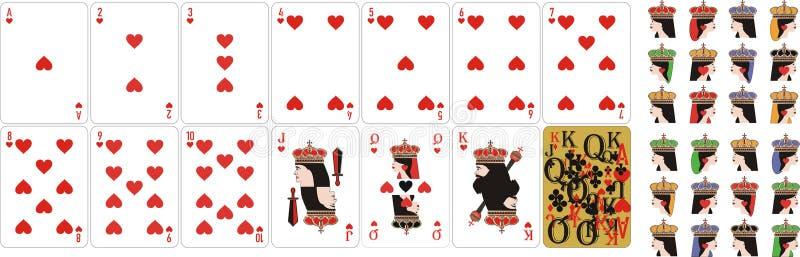 Παίζοντας βασίλισσα καρδιών καρτών για παράξενο και Cassino ελεύθερη απεικόνιση δικαιώματος