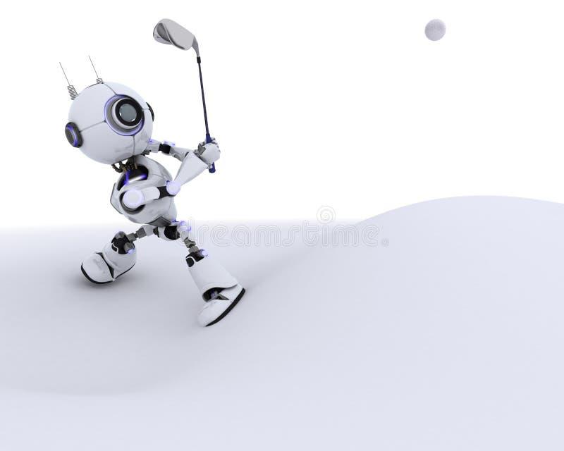 Παίζοντας γκολφ ρομπότ διανυσματική απεικόνιση