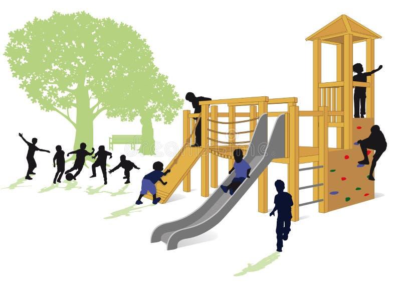 παίζοντας διάνυσμα πάρκων απεικόνισης παιδιών ελεύθερη απεικόνιση δικαιώματος