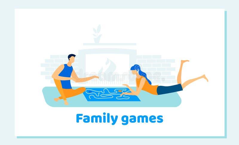 Παίζοντας οικογενειακά επιτραπέζια παιχνίδια ανδρών και γυναικών στο σπίτι διανυσματική απεικόνιση