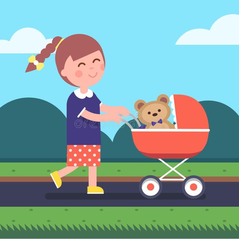 Παίζοντας παιχνίδι κορών μητέρων μικρών κοριτσιών διανυσματική απεικόνιση