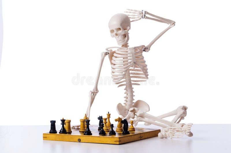 Download Παίζοντας παιχνίδι σκακιού σκελετών στο λευκό Στοκ Εικόνες - εικόνα από πάλη, battlement: 62707600