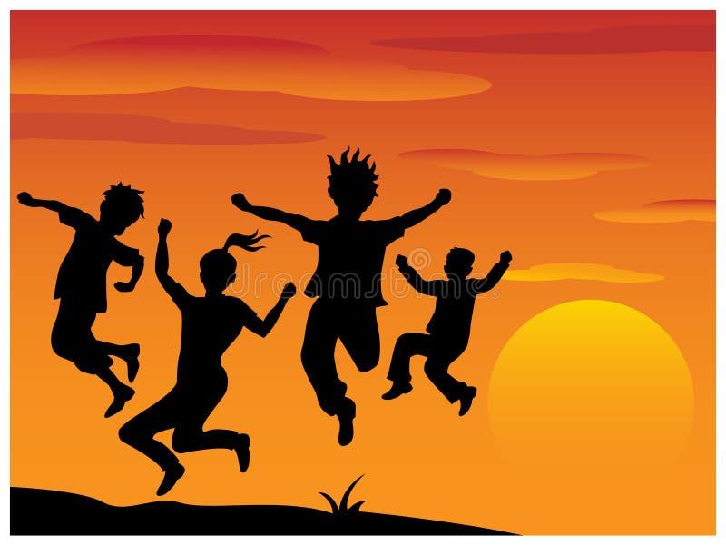 Παίζοντας παιδιά σκιαγραφιών ελεύθερη απεικόνιση δικαιώματος