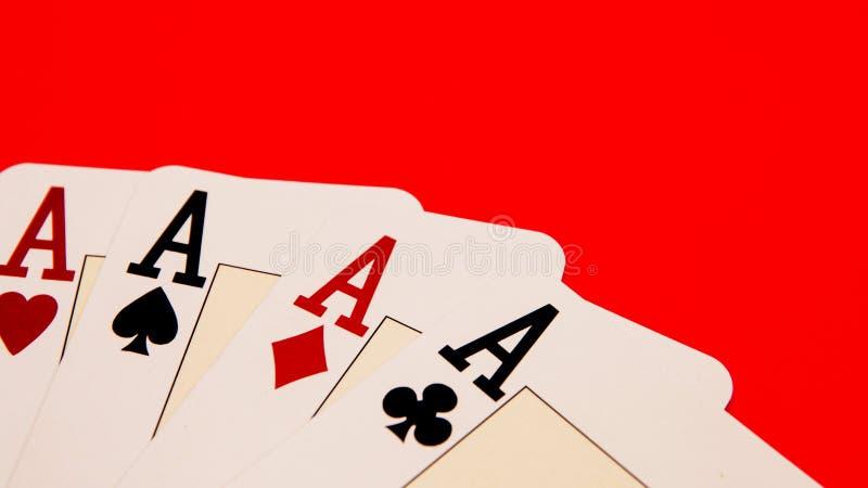 Παίζοντας παρουσίαση καρτών τέσσερις άσσοι, χρόνος παιχνιδιών στοκ φωτογραφία με δικαίωμα ελεύθερης χρήσης