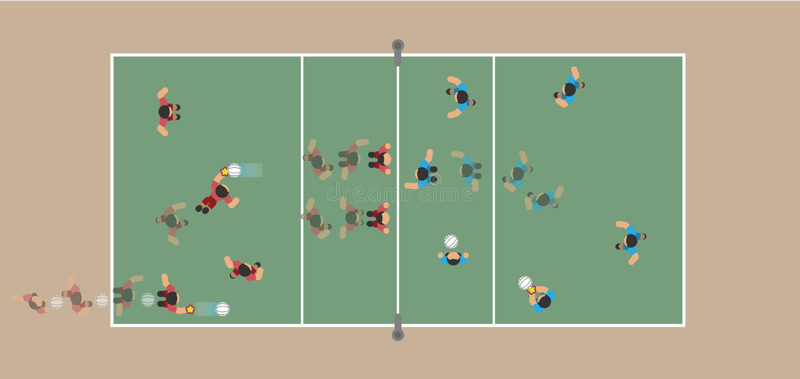 Παίζοντας πετοσφαίριση, δικαστήριο πετοσφαίρισης με τους φορείς διανυσματική απεικόνιση
