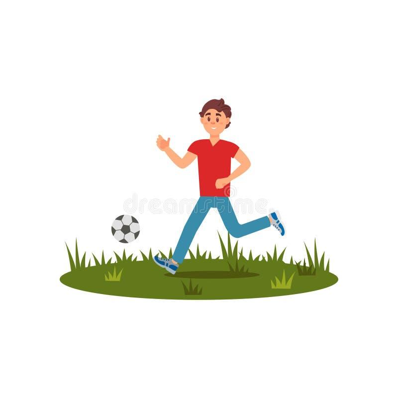 Παίζοντας ποδόσφαιρο αγοριών εφήβων στην πράσινη χλόη Θερινή υπαίθρια δραστηριότητα Χαρακτήρας παιδιών κινούμενων σχεδίων στην μπ ελεύθερη απεικόνιση δικαιώματος