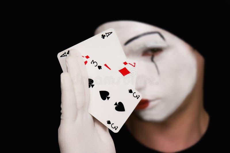 παίζοντας πορτρέτο καρτών mime στοκ φωτογραφία με δικαίωμα ελεύθερης χρήσης