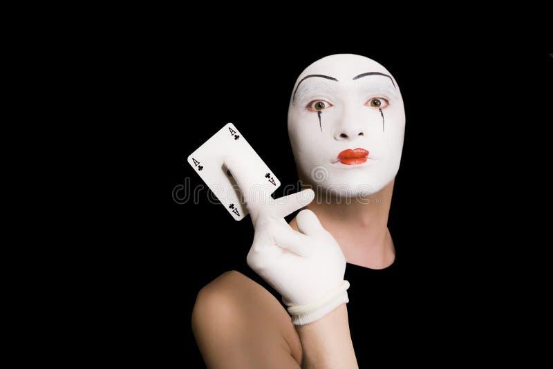 παίζοντας πορτρέτο καρτών mime στοκ φωτογραφία