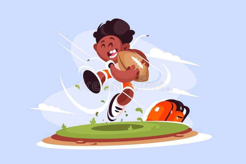 Παίζοντας ράγκμπι μικρών παιδιών έξω διανυσματική απεικόνιση