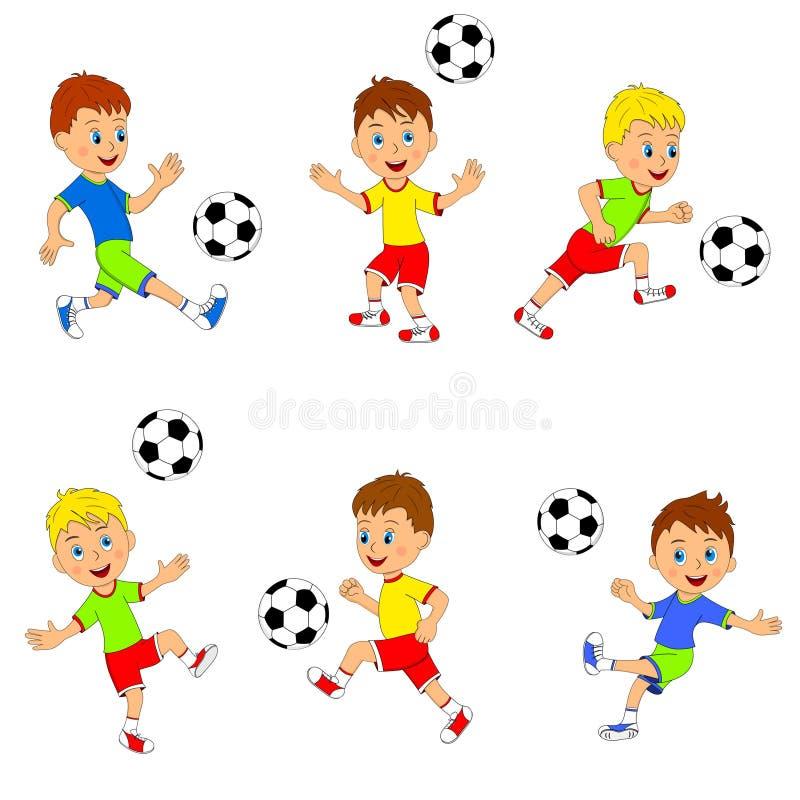 Παίζοντας συλλογή ποδοσφαίρου αγοριών ελεύθερη απεικόνιση δικαιώματος
