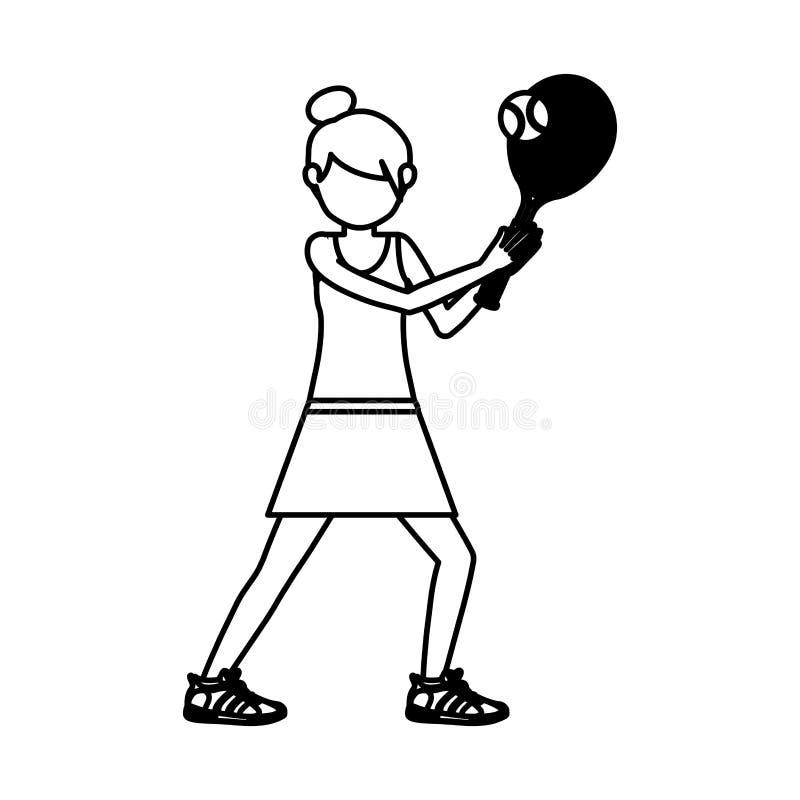 Παίζοντας σχέδιο αντισφαίρισης κοριτσιών ελεύθερη απεικόνιση δικαιώματος