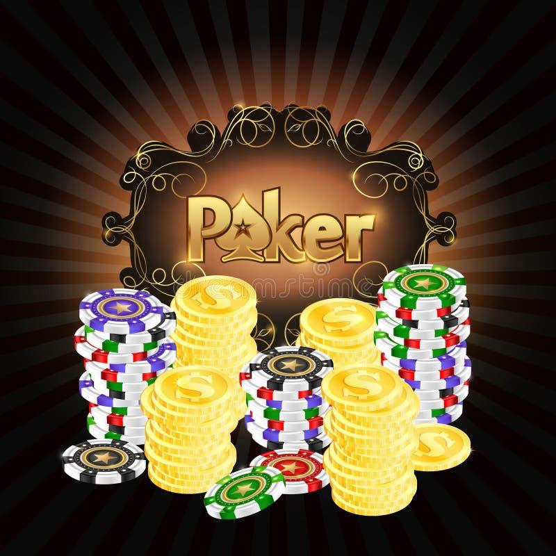 Παίζοντας τσιπ και χρυσό πόκερ νομισμάτων απεικόνιση αποθεμάτων