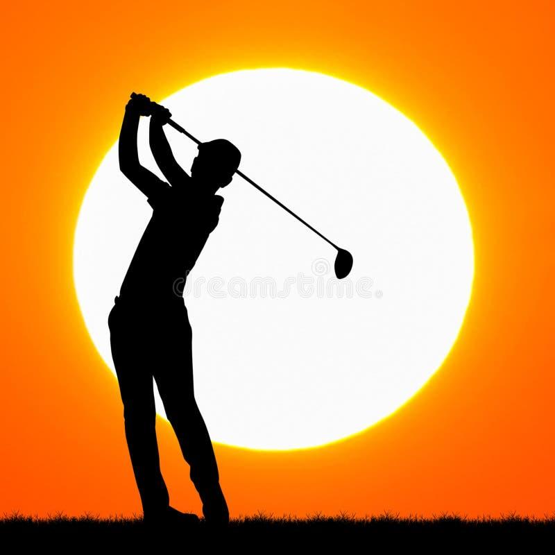 Παίκτες γκολφ σκιαγραφιών με το ηλιοβασίλεμα στοκ εικόνα