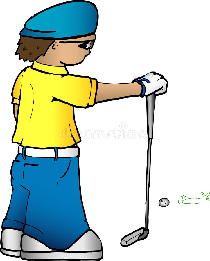 παίκτης γκολφ κινούμενων σχεδίων Στοκ Φωτογραφίες