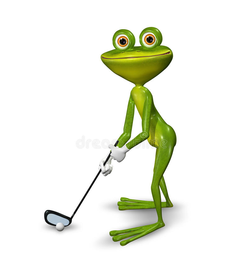 Παίκτης γκολφ βατράχων διανυσματική απεικόνιση