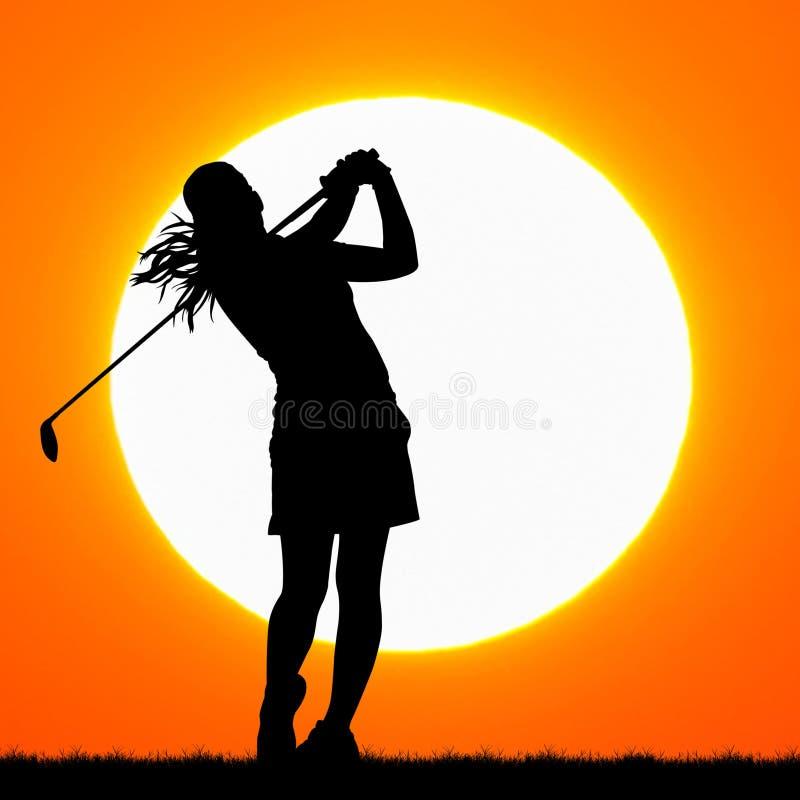 Παίκτης γκολφ σκιαγραφιών με το ηλιοβασίλεμα στοκ εικόνες