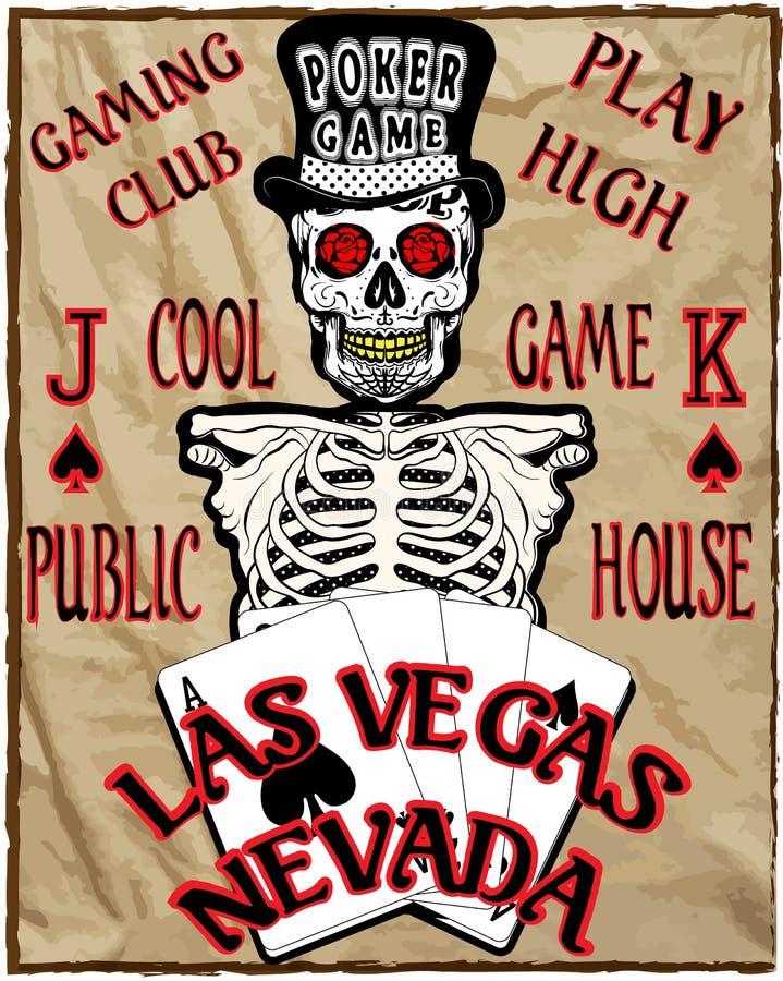 Παίκτης σκελετών με τις κάρτες πόκερ, διανυσματική απεικόνιση ελεύθερη απεικόνιση δικαιώματος