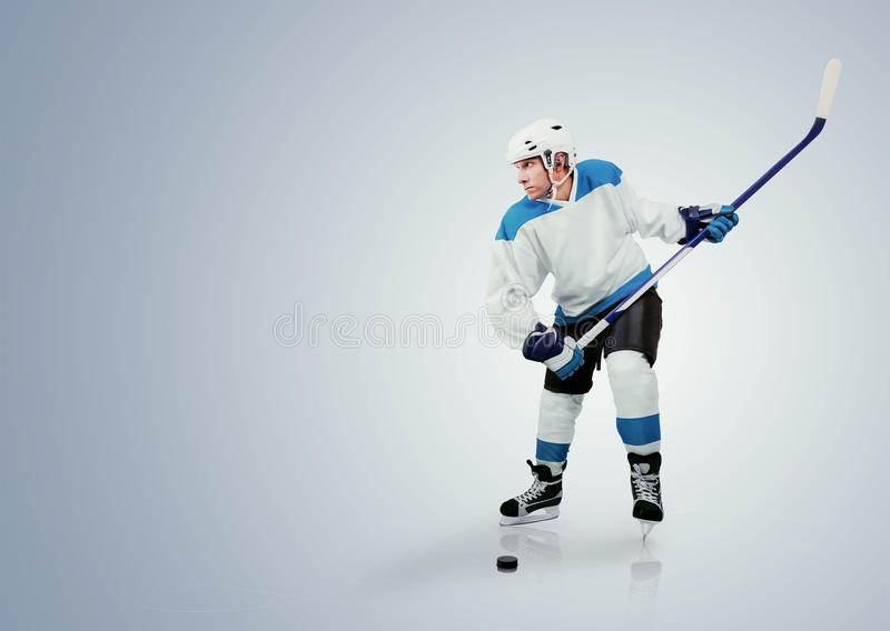 Παίκτης χόκεϋ πάγου έτοιμος να επιτεθεί στοκ εικόνα