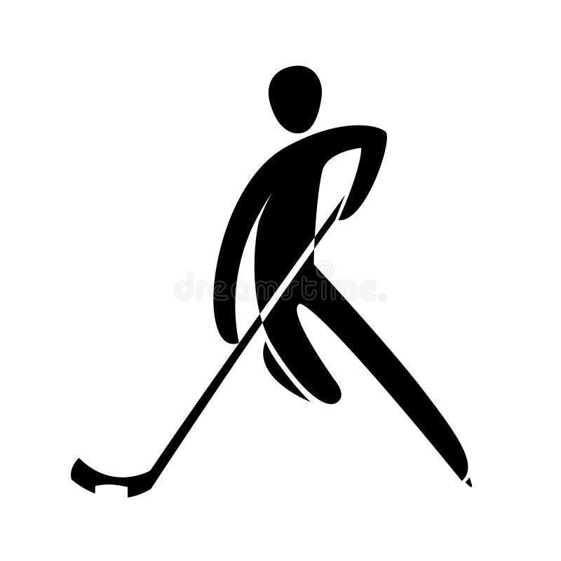 Παίκτης χόκεϋ πάγου σκιαγραφιών που κάνει πατινάζ με απομονωμένη τη ραβδί απεικόνιση διανυσματική απεικόνιση