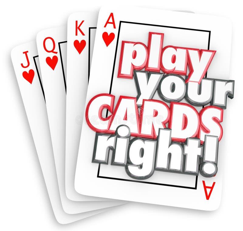 Παίξτε τις κάρτες σας που η σωστή παίζοντας στρατηγική παιχνιδιών κερδίζει τον ανταγωνισμό διανυσματική απεικόνιση