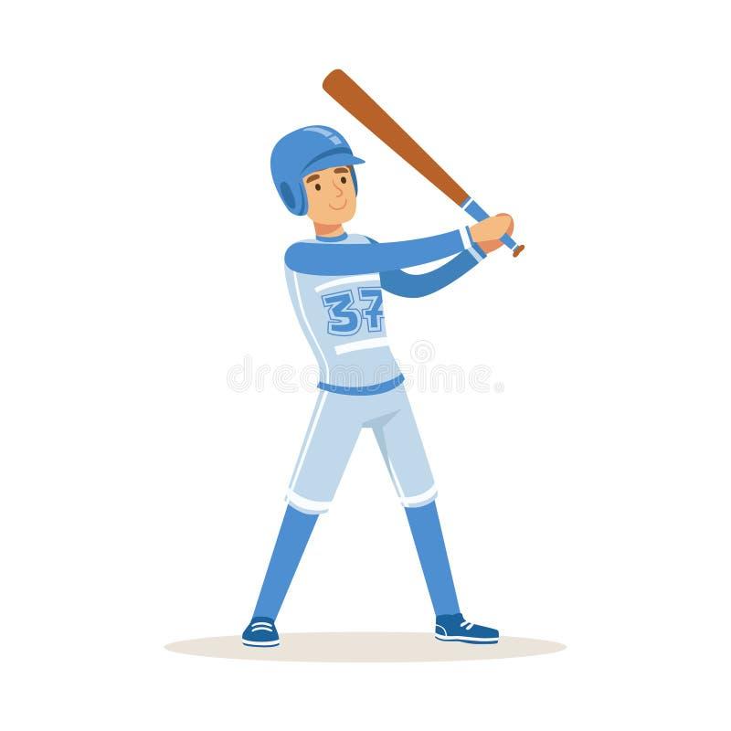 Παίχτης του μπέιζμπολ μπλε ομοιόμορφο να πάρει έτοιμος να χτυπήσει τη διανυσματική απεικόνιση σφαιρών διανυσματική απεικόνιση