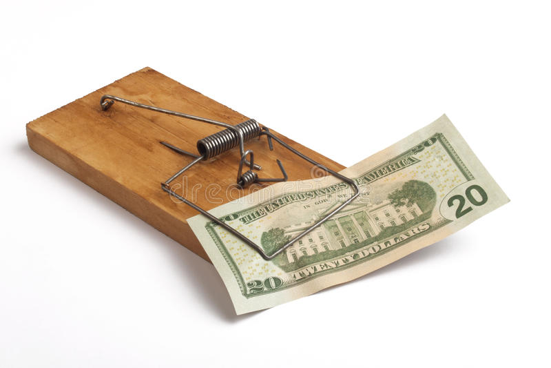 Παγίδα ποντικιών και ένα δολάριο στοκ εικόνες με δικαίωμα ελεύθερης χρήσης