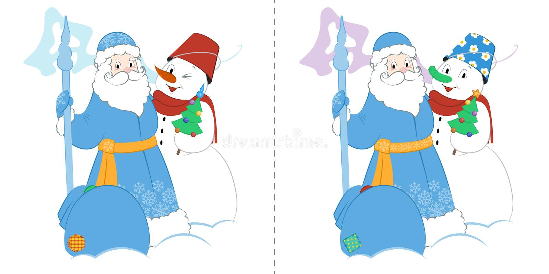 Παγετός πατέρων κινούμενων σχεδίων με το χιονάνθρωπο και τα δώρα Βρείτε δέκα διαφορές διανυσματική απεικόνιση
