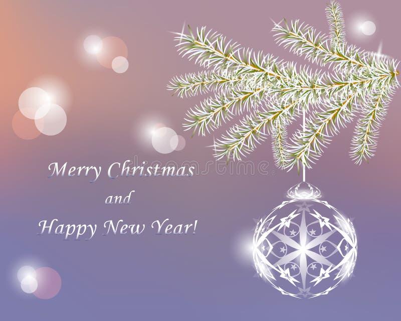 Παγετός σε έναν κλάδο χριστουγεννιάτικων δέντρων και μια σφαίρα Χριστουγέννων Χριστούγεννα β ελεύθερη απεικόνιση δικαιώματος