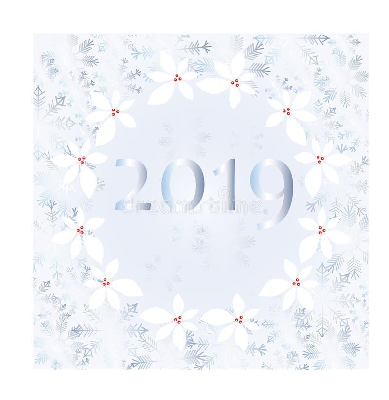 Παγετός στο παράθυρο, μπλε snowflakes, 2019 στο μπλε υπόβαθρο, έμβλημα τυπογραφίας απεικόνιση αποθεμάτων