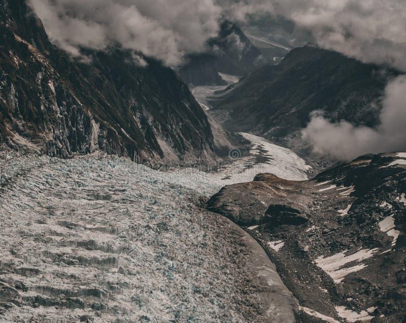 Παγετώνας αλεπούδων από το ελικόπτερο στοκ εικόνες
