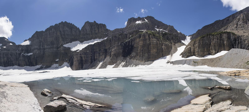 Παγετώνας Grinnell πανοραμικός - εθνικό πάρκο παγετώνων στοκ φωτογραφία με δικαίωμα ελεύθερης χρήσης