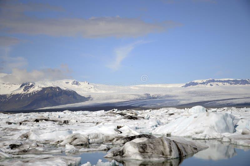 Παγετώδες τοπίο Vatnajokull χιονιού φύσης λιμνοθαλασσών Jokulsarlon λιμνών παγετώνων της Ισλανδίας στοκ φωτογραφίες με δικαίωμα ελεύθερης χρήσης