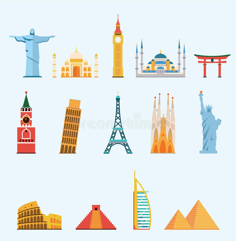 Παγκοσμίως διάσημα ορόσημα ταξιδιού απεικόνιση αποθεμάτων