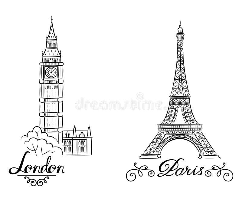 Παγκοσμίως διάσημη συλλογή ορόσημων σκίτσων χεριών: Big Ben Λονδίνο, Αγγλία και σκίτσο του Παρισιού, πύργος του Άιφελ ελεύθερη απεικόνιση δικαιώματος