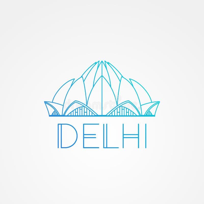 Παγκοσμίως διάσημος ναός Lotus Μέγιστα ορόσημα της Ασίας Γραμμικό σύγχρονο σύμβολο εικονιδίων ύφους διανυσματικό του Νέου Δελχί,  ελεύθερη απεικόνιση δικαιώματος