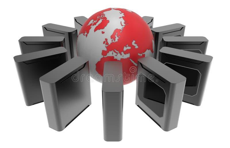 Παγκόσμια έννοια κεντρικών υπολογιστών ελεύθερη απεικόνιση δικαιώματος