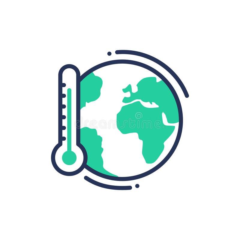 Παγκόσμια αύξηση της θερμοκρασίας λόγω του φαινομένου του θερμοκηπίου - σύγχρονο διανυσματικό ενιαίο εικονίδιο γραμμών απεικόνιση αποθεμάτων