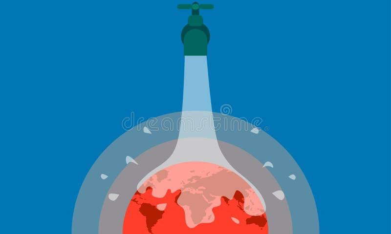 παγκόσμια αύξηση της θερμ&omic ανοικτό wator για να σώσει τη γη καυτός πλανήτης Διανυσματική απεικόνιση EPS10 απεικόνιση αποθεμάτων