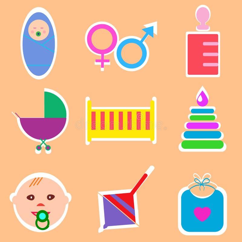 Παγκόσμια εικονίδια παιδιών ` s, εξαρτήματα, απεικόνιση διανυσματική απεικόνιση