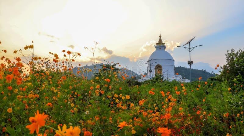 Παγκόσμια ειρήνη Stupa, επίσης γνωστό ως Shanti Stupa σε Pokhara στοκ φωτογραφία με δικαίωμα ελεύθερης χρήσης