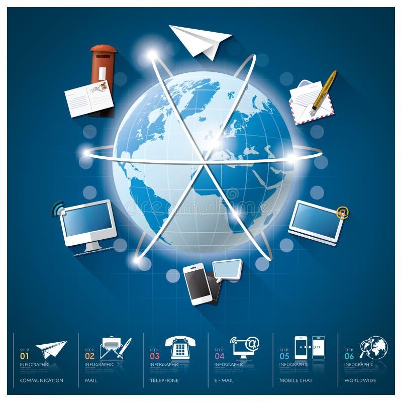 Παγκόσμια επικοινωνία και σύνδεση Infographic με στρογγυλό Circl ελεύθερη απεικόνιση δικαιώματος