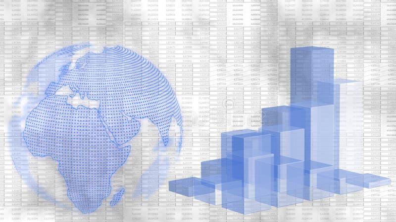 Παγκόσμια επιχειρηματική και εμπορική ιδέα - Γη και Business Growth Bar Graph μπροστά από ένα γραφικό φόντο απεικόνιση αποθεμάτων