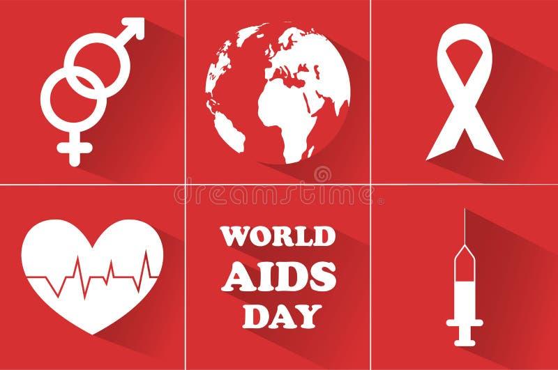 Παγκόσμια Ημέρα κατά του AIDS 1 Δεκεμβρίου σύμβολο της ημέρας για να παλεψει το AIDS διανυσματική απεικόνιση