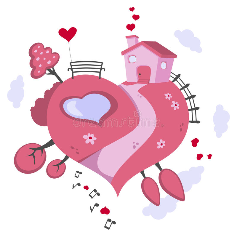 Παγκόσμια διαμορφωμένη καρδιά γη αγάπης διανυσματική απεικόνιση